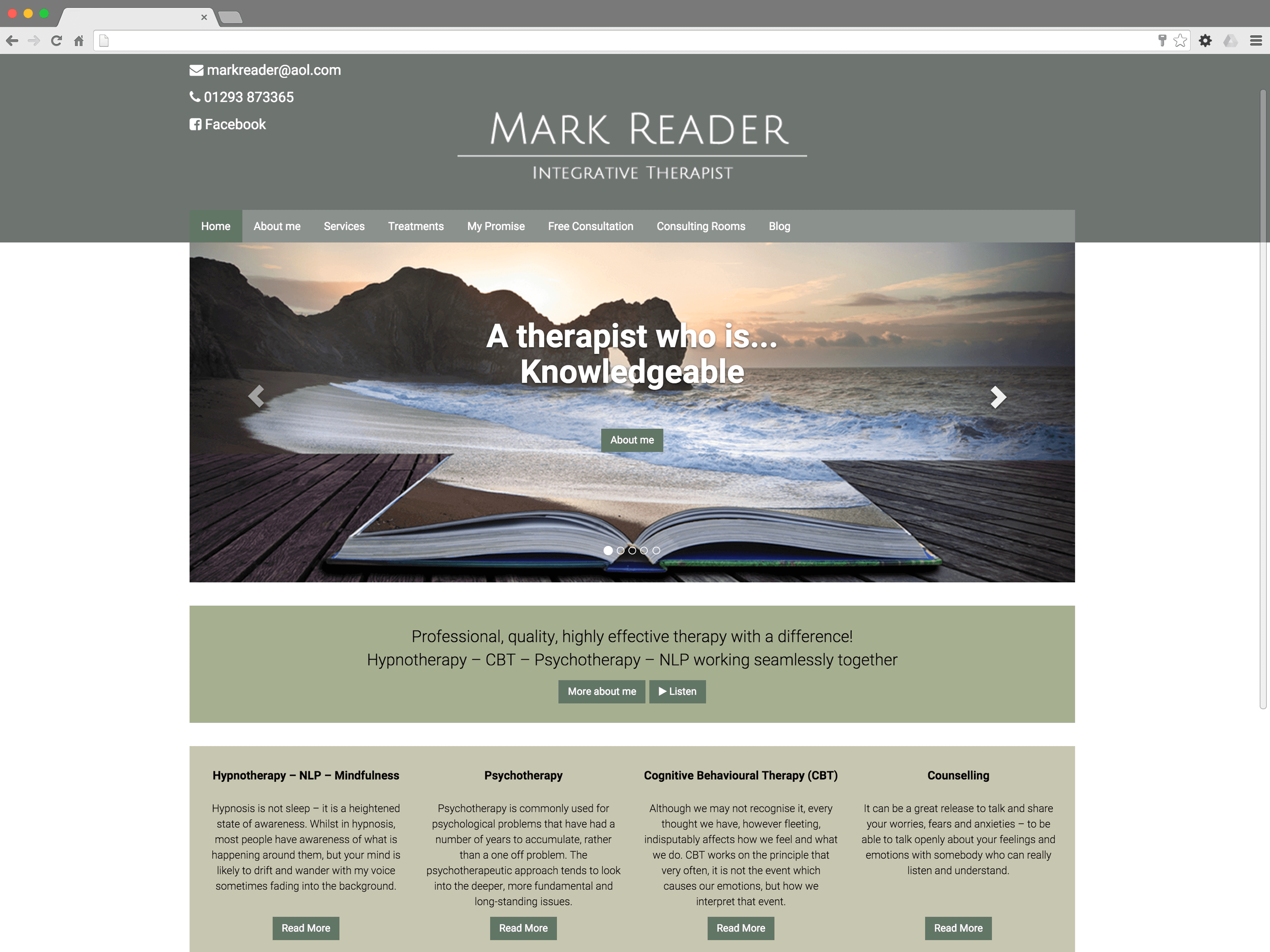 Mark Reader Integrative Therapist website (Website on desktop)