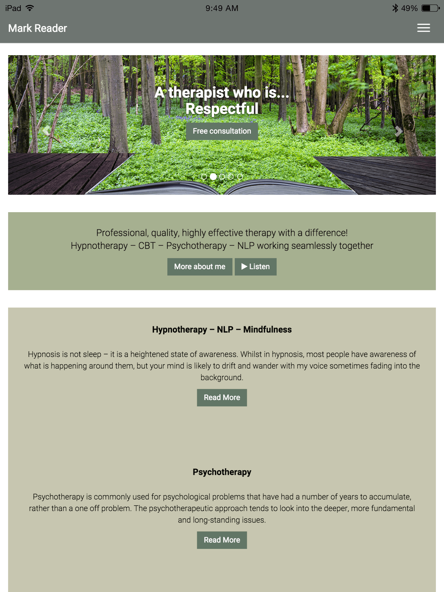 Mark Reader Integrative Therapist website (Website on tablet)