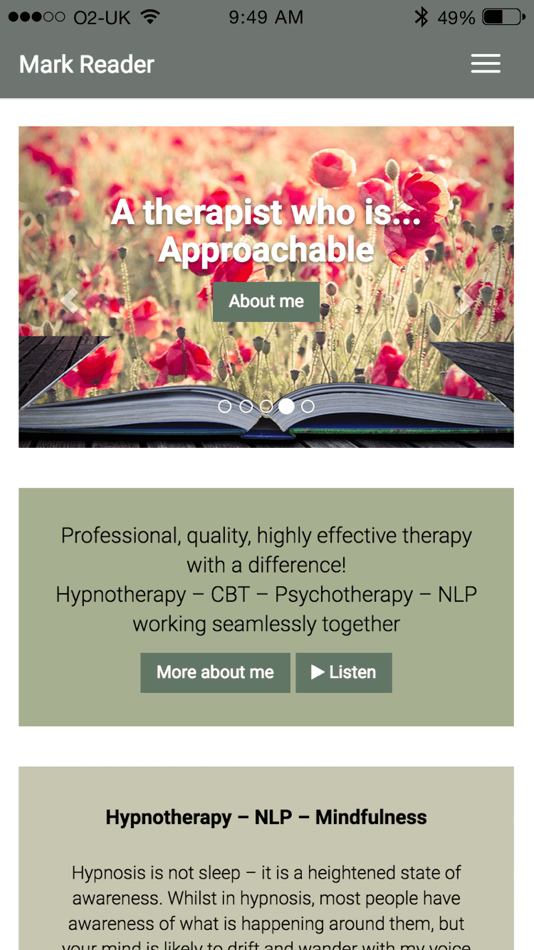 Mark Reader Integrative Therapist website (Website on mobile)