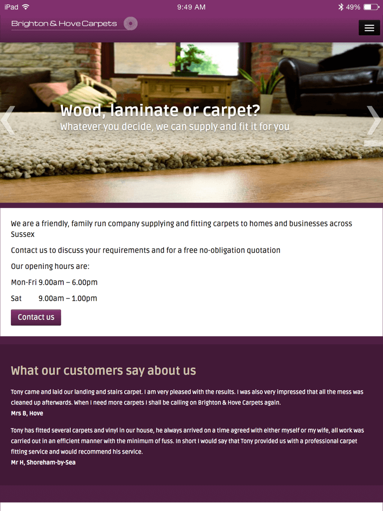 Brighton and Hove Carpets website (Website on tablet)