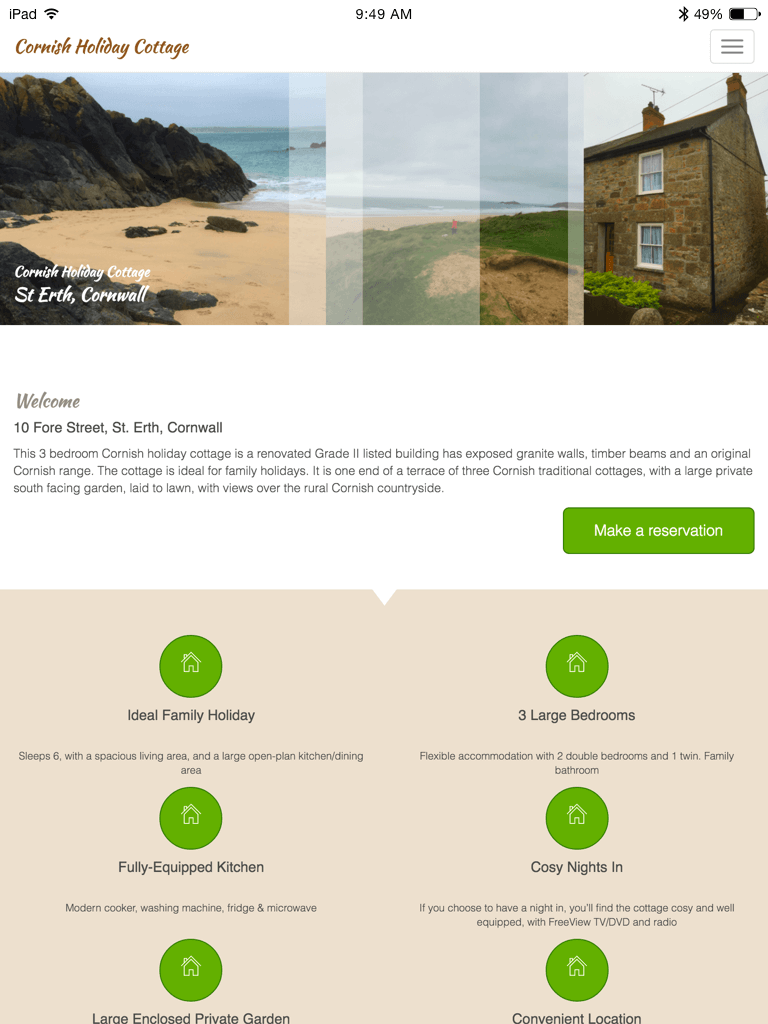 Cornish Holiday Cottage St.Erth website (Website on tablet)