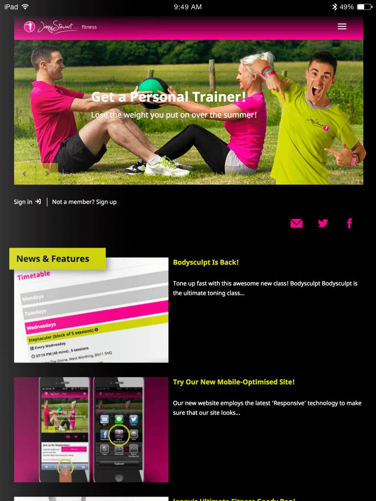 Jonny Stewart Fitness website (Website on tablet)