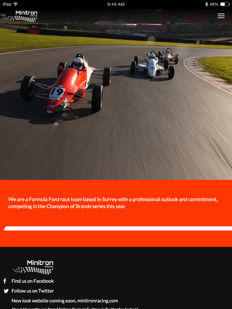 Minitron Racing website (Website on tablet)