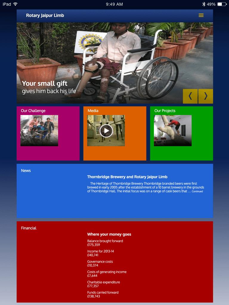 Rotary Jaipur Limb website (Website on tablet)
