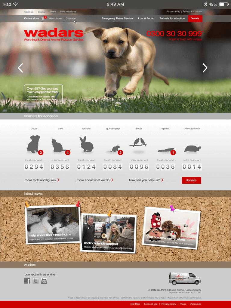 WADARS website (Website on tablet)
