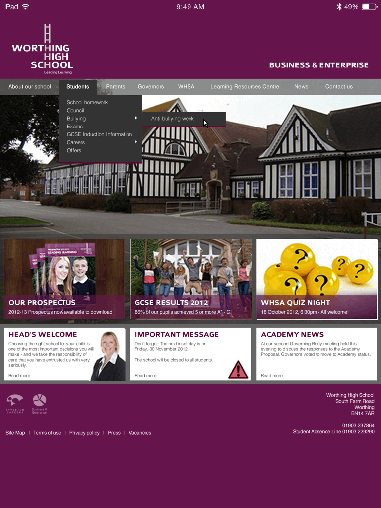 Worthing High School website (Website on tablet)