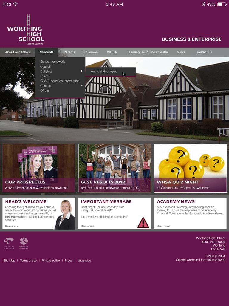 Worthing High School website (Website on tablet)