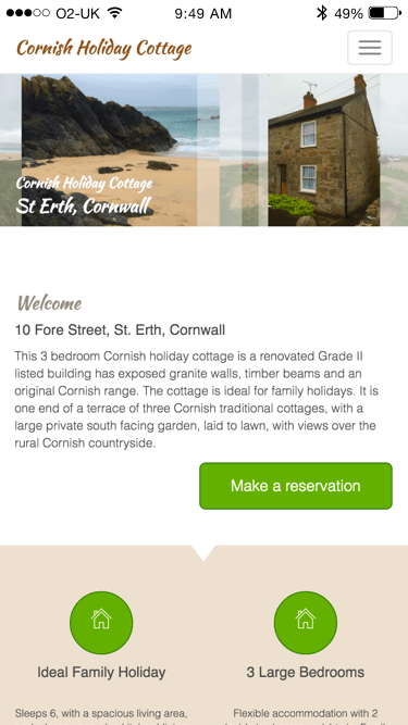Cornish Holiday Cottage St.Erth website (Website on mobile)