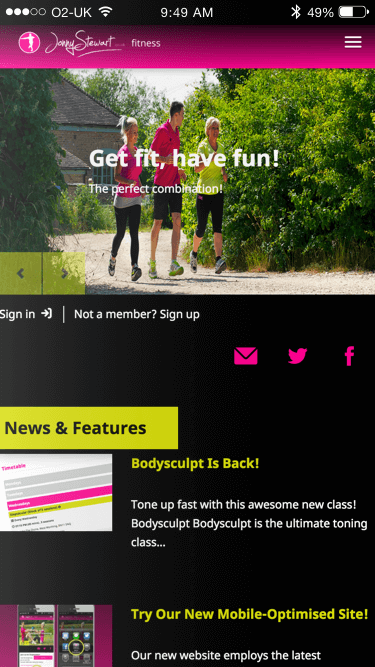Jonny Stewart Fitness website (Website on mobile)