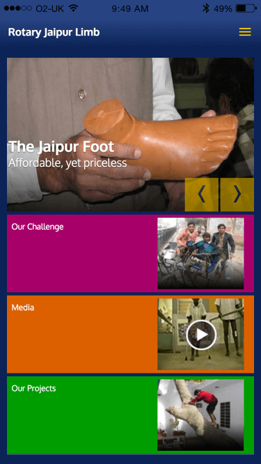 Rotary Jaipur Limb website (Website on mobile)