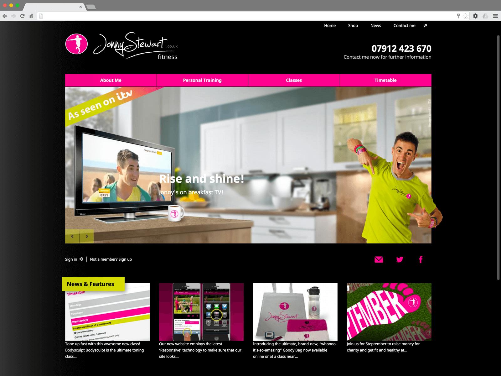 Jonny Stewart Fitness website (Website on desktop)