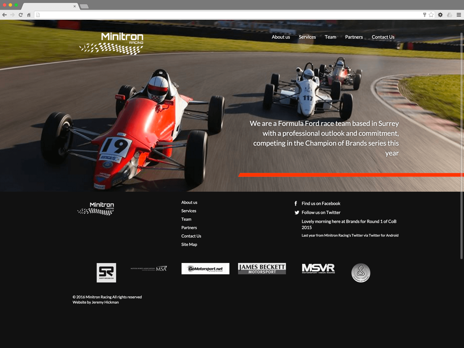 Minitron Racing website (Website on desktop)
