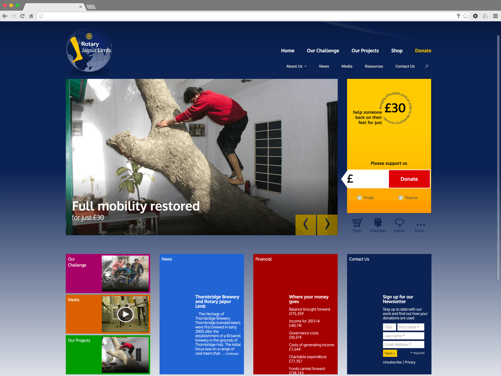 Rotary Jaipur Limb website (Website on desktop)