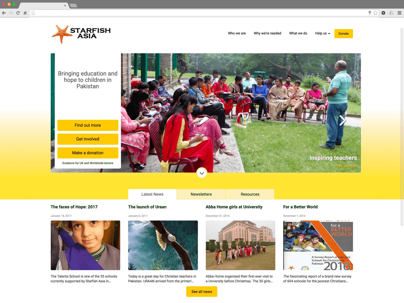 Starfish Asia website (Website on desktop)