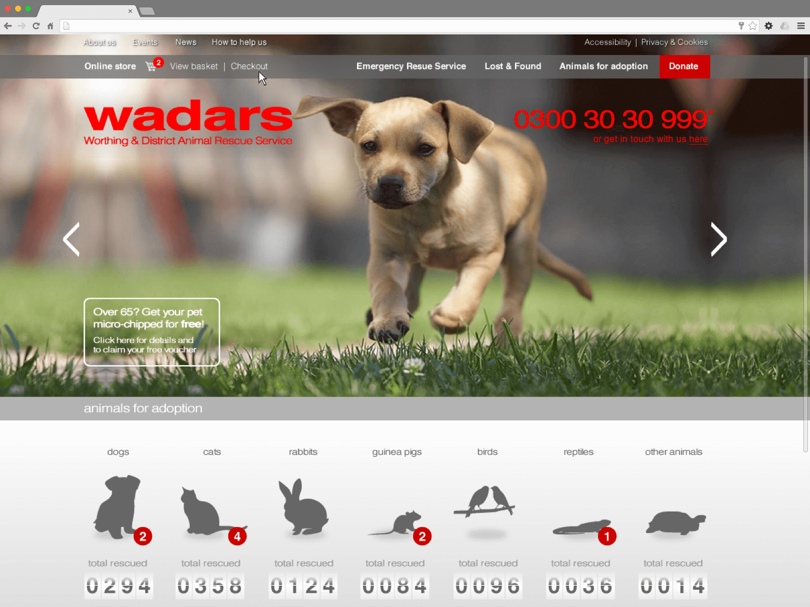 WADARS website (Website on desktop)