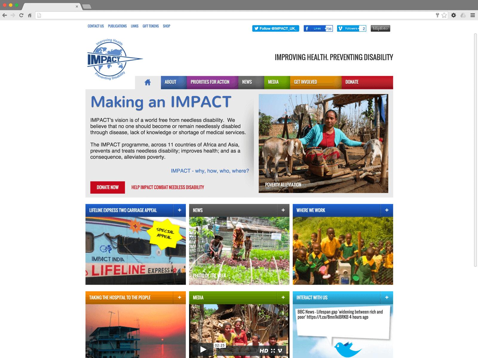 IMPACT Foundation website (Website on desktop)