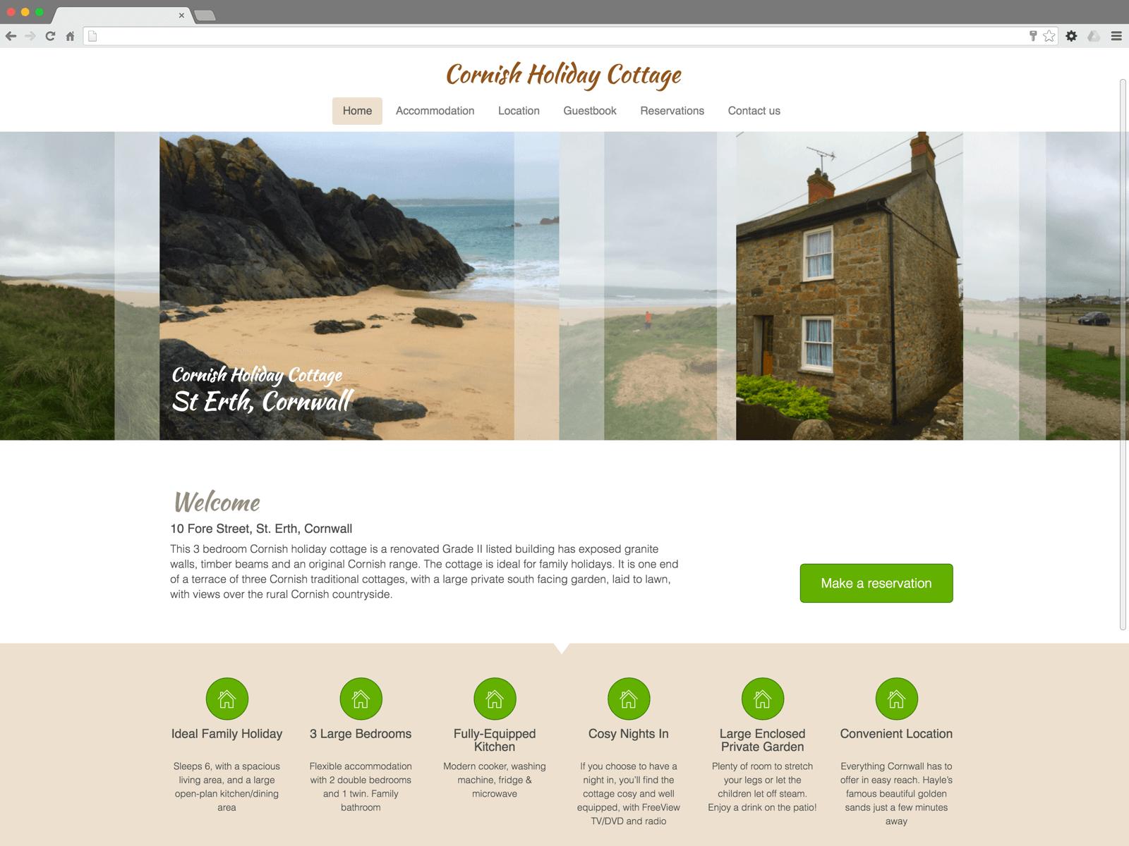 Cornish Holiday Cottage St.Erth website (Website on desktop)