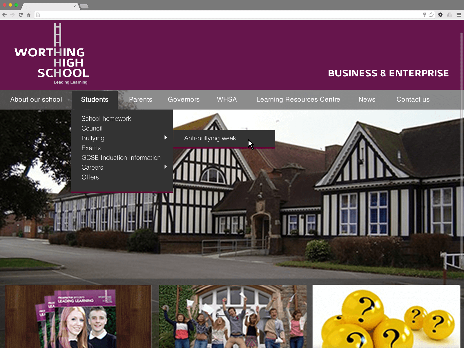 Worthing High School website (Website on desktop)