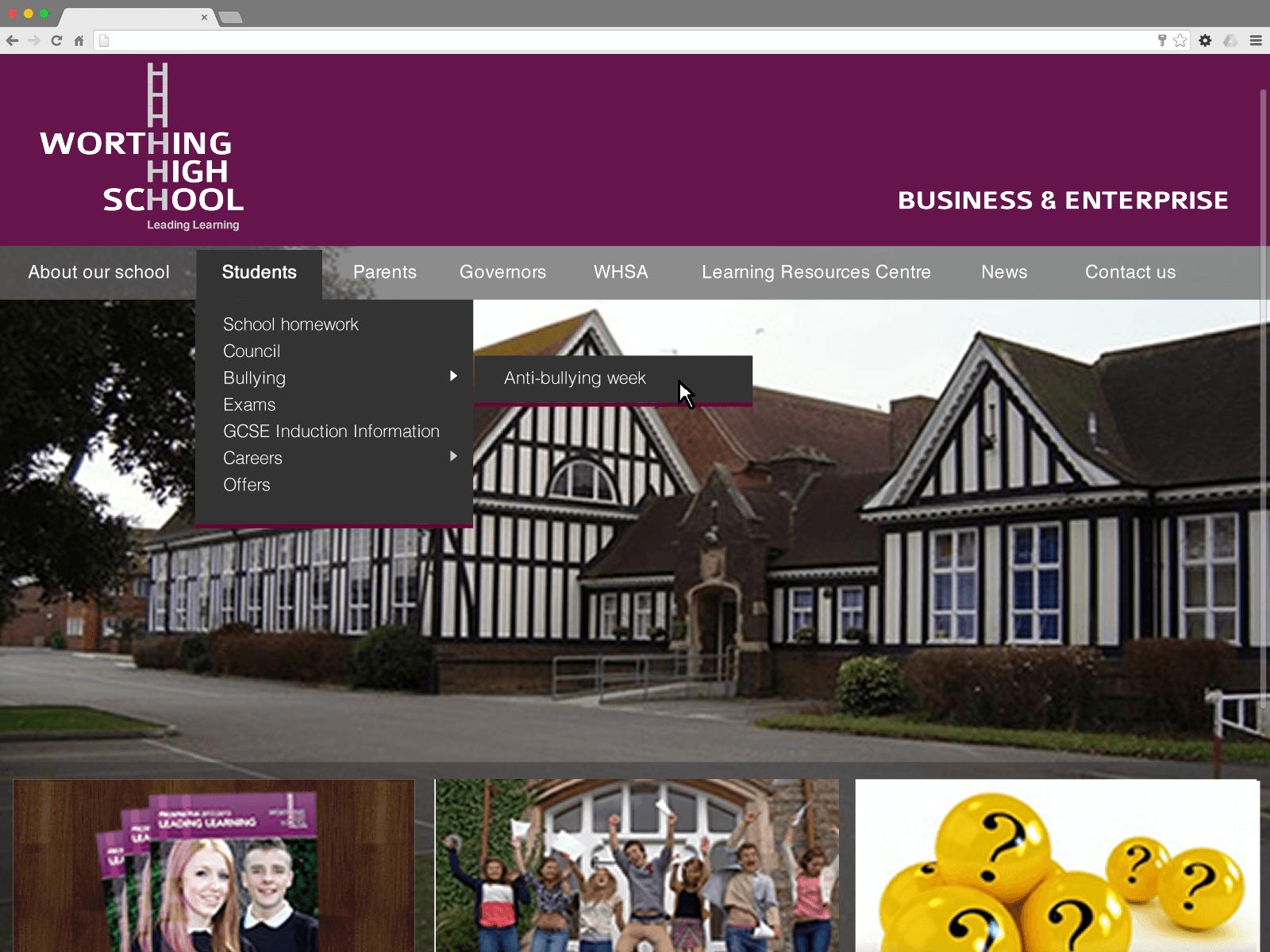 Worthing High School website (Website on desktop)