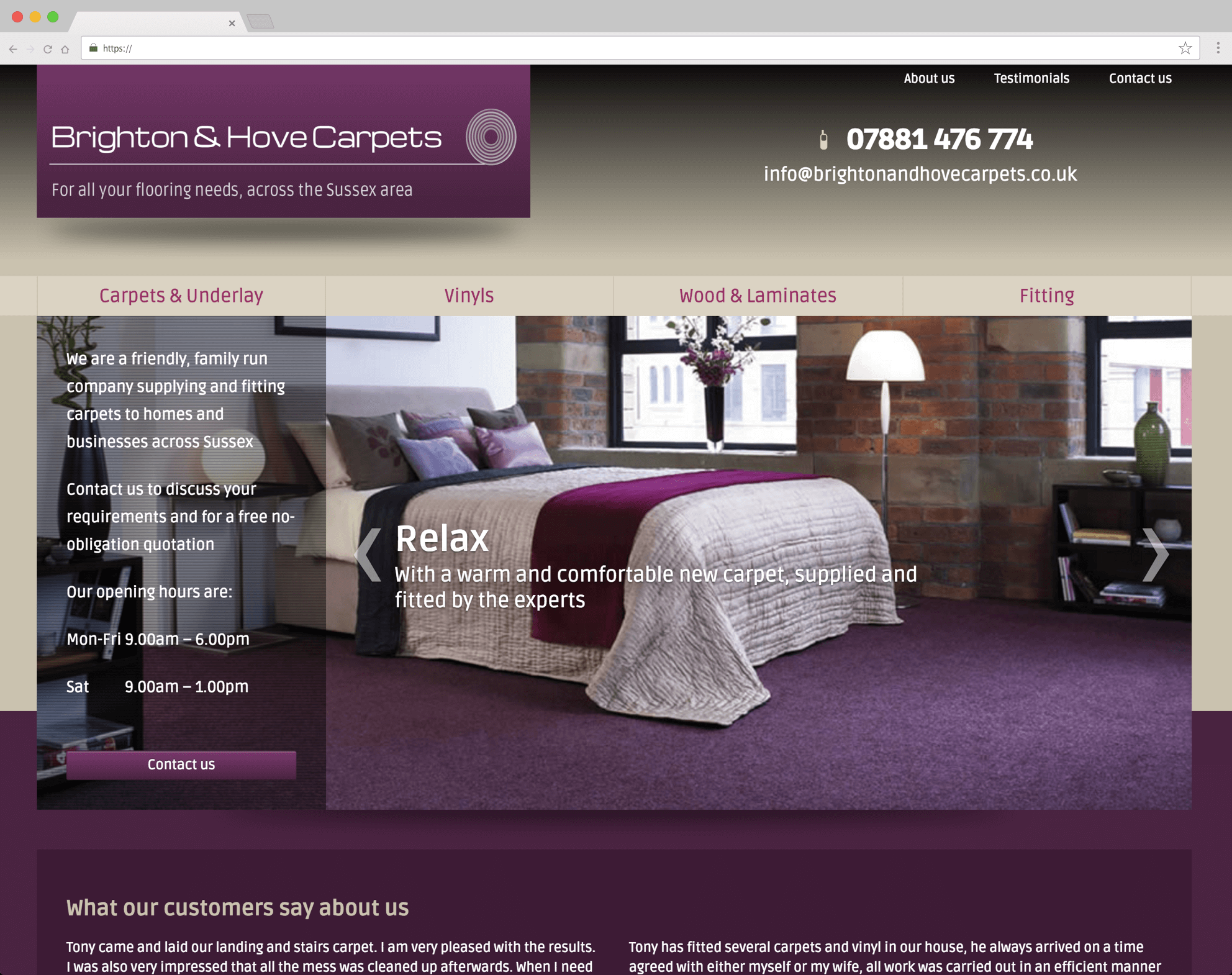 Brighton and Hove Carpets website (Website on desktop)