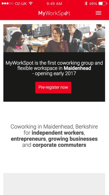 MyWorkSpot website (Website on mobile)