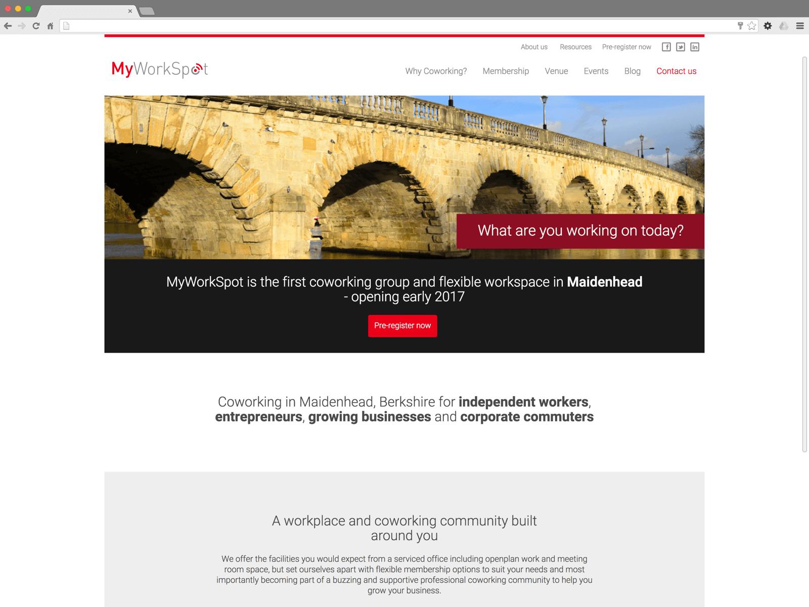 MyWorkSpot website (Website on desktop)