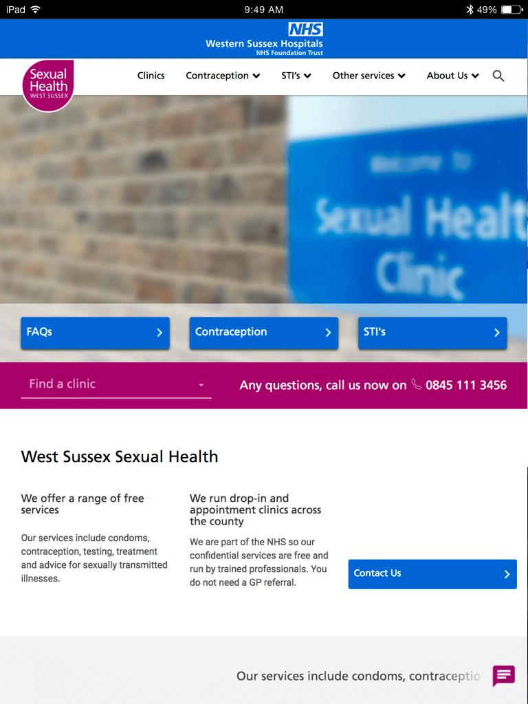 NHS Sexual Health West Sussex website (Website on tablet)