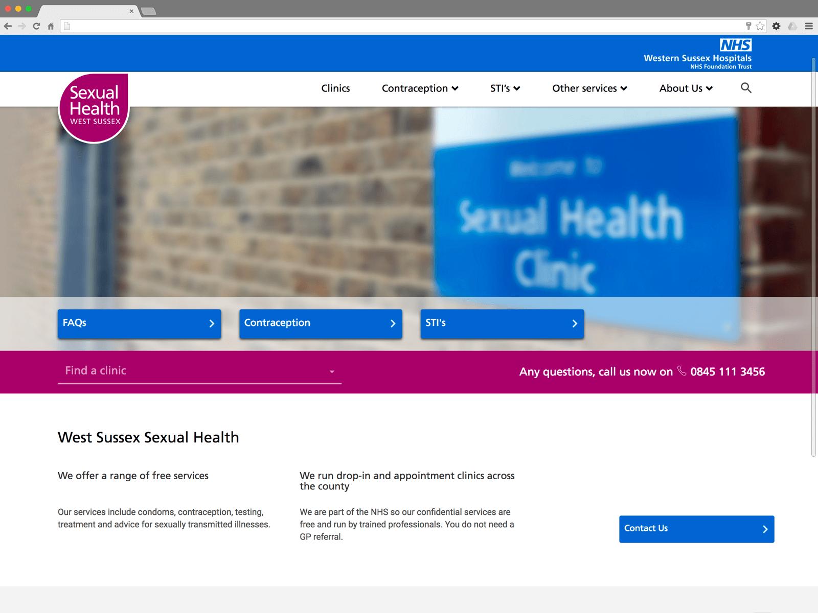 NHS Sexual Health West Sussex website (Website on desktop)