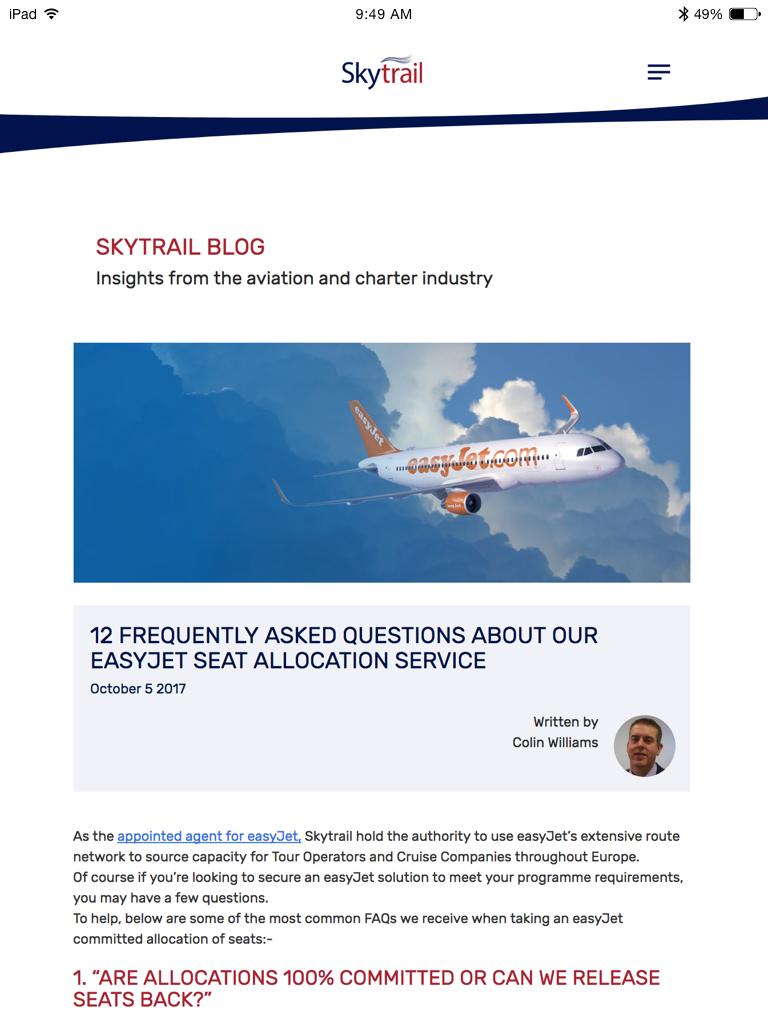 Skytrail blog (Website on tablet)