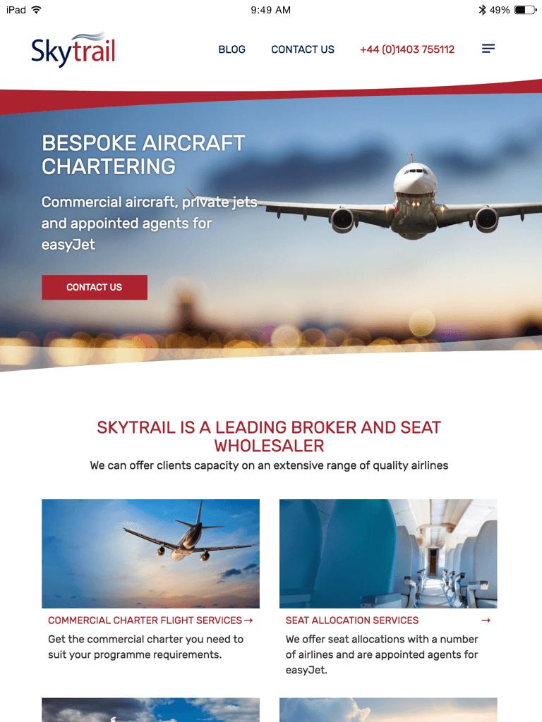 Skytrail website (Website on tablet)