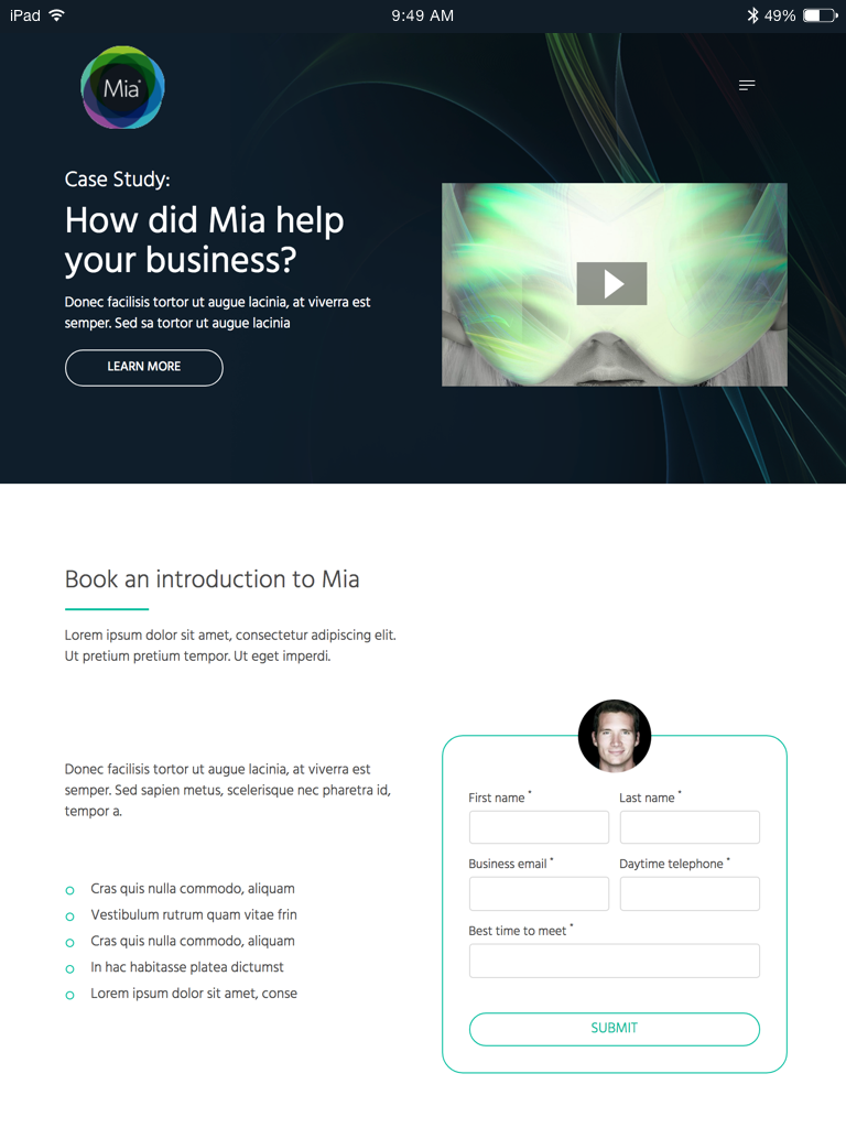 Mia landing page (Website on tablet)