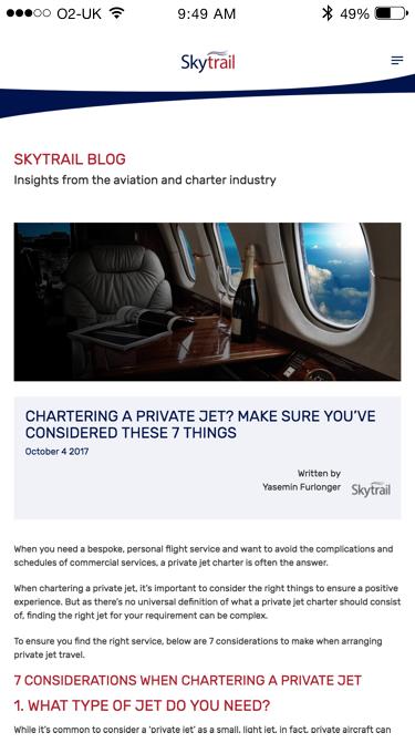 Skytrail blog (Website on mobile)