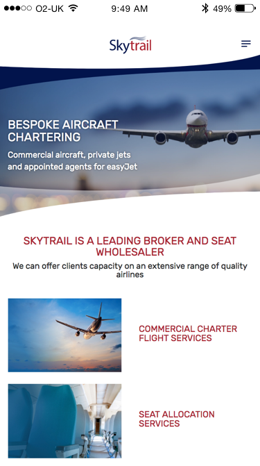 Skytrail website (Website on mobile)