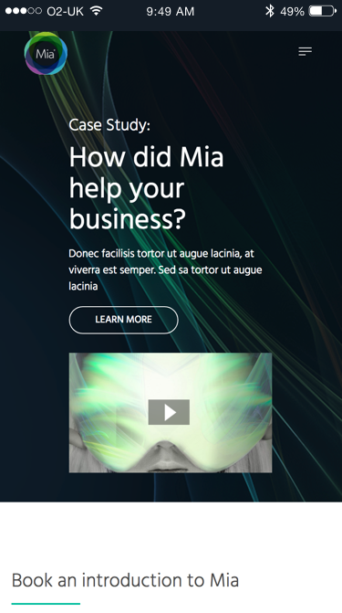 Mia landing page (Website on mobile)