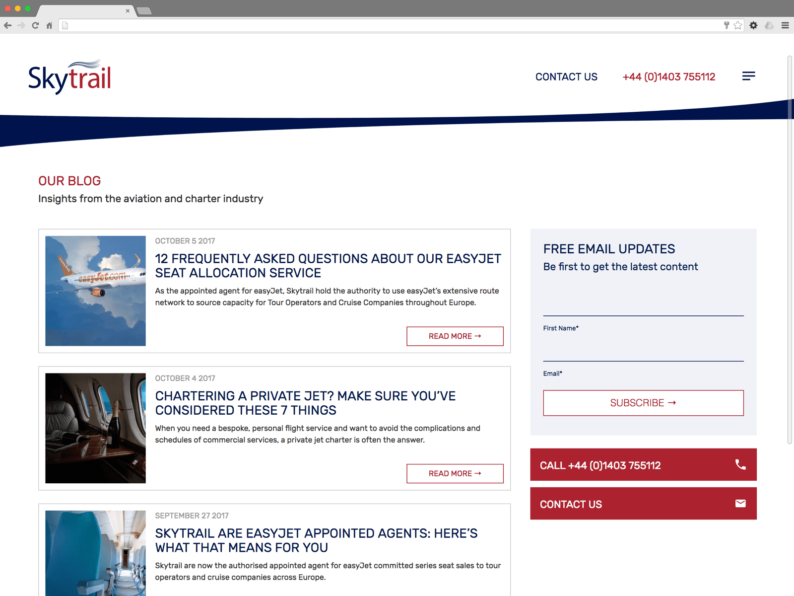Skytrail blog (Website on desktop)