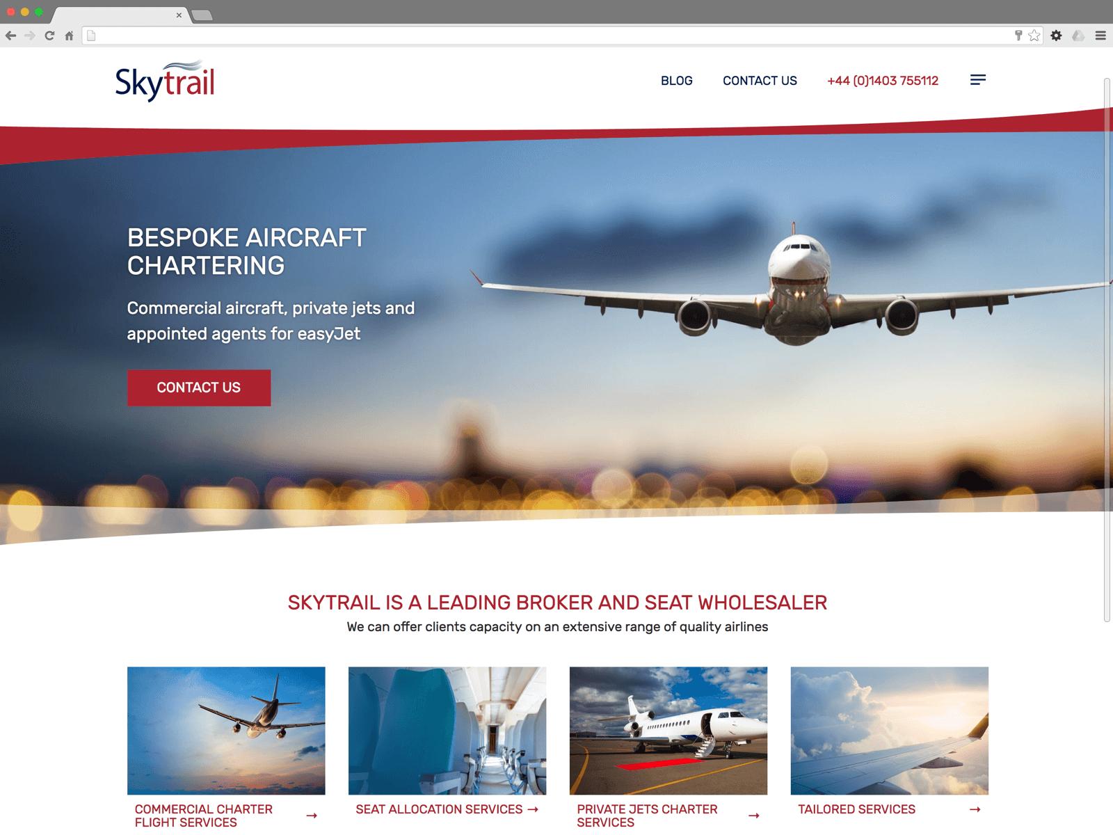 Skytrail website (Website on desktop)