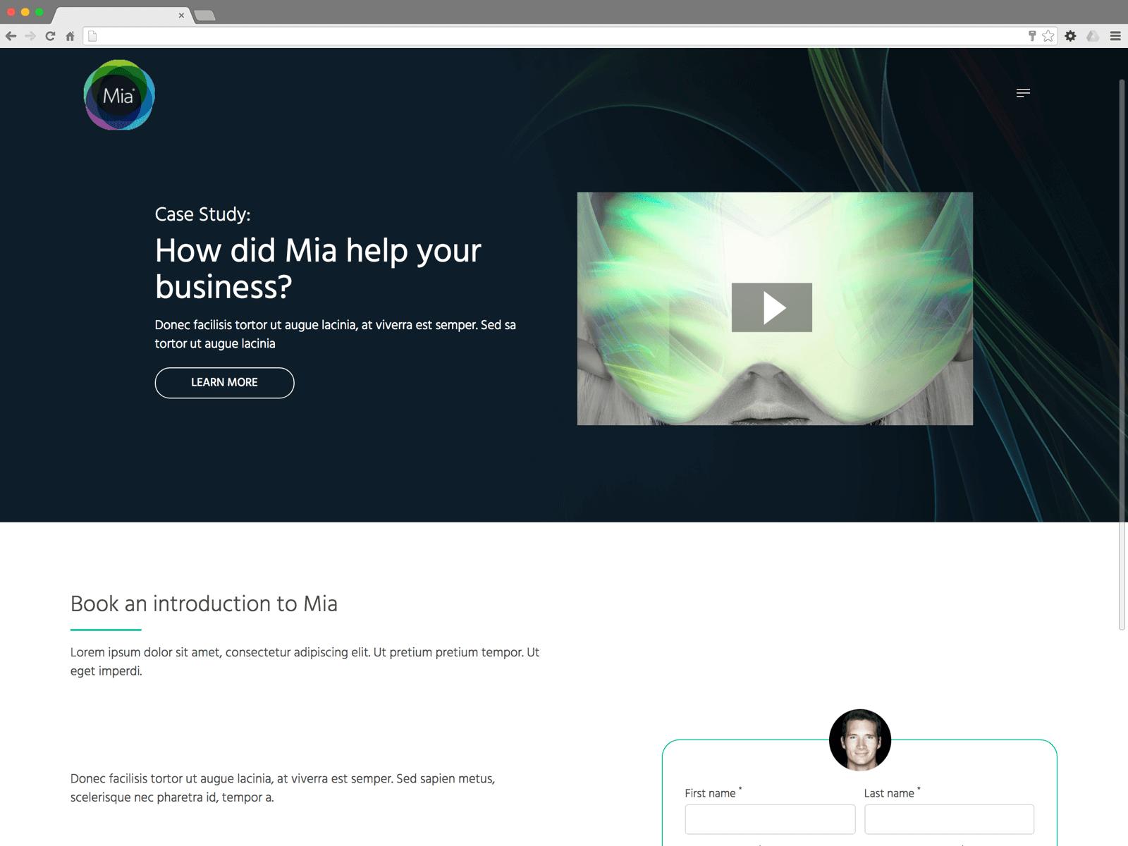 Mia landing page (Website on desktop)