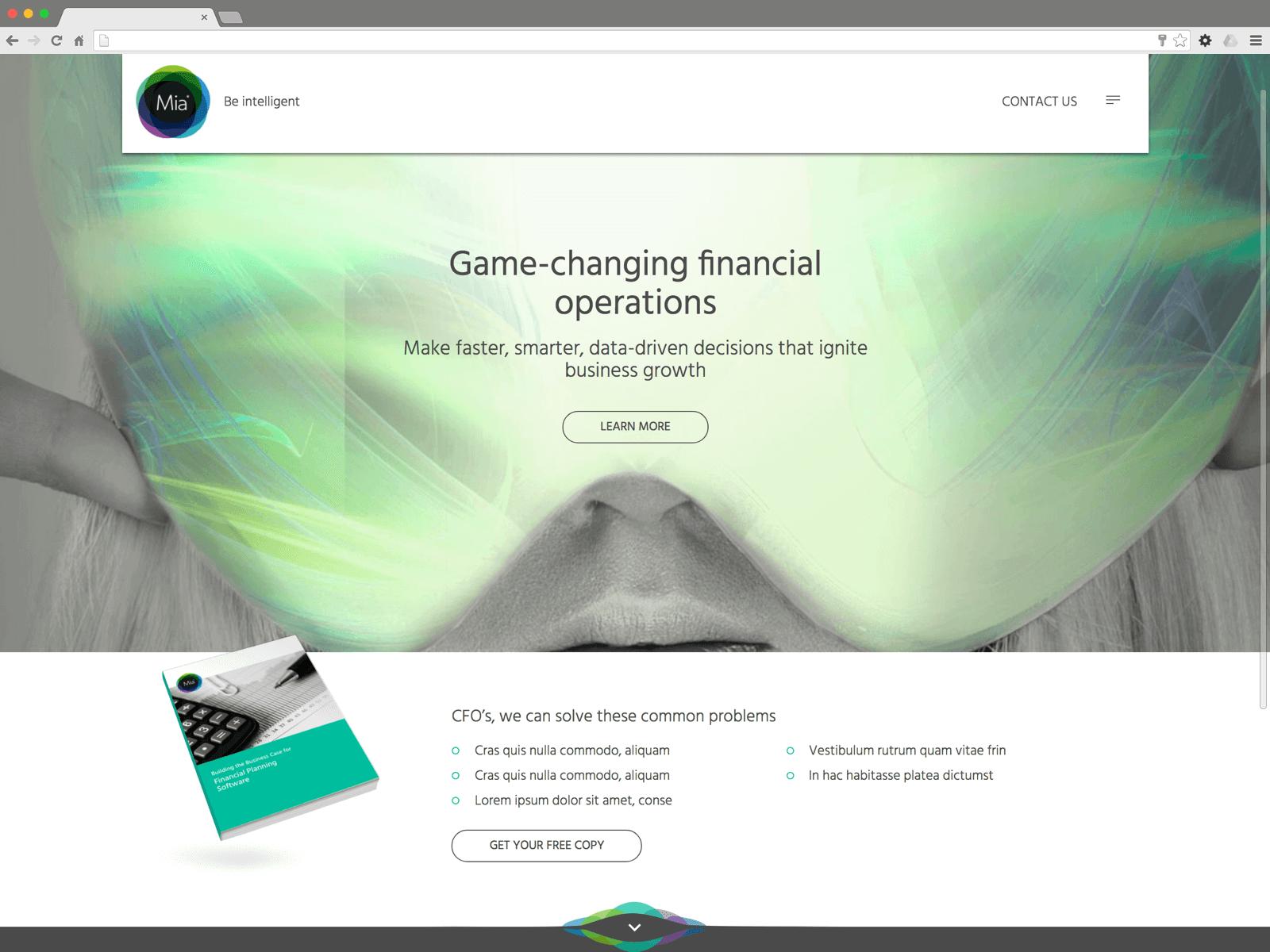 Mia website (Website on desktop)