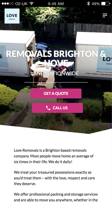 Love Removals website (Website on mobile)