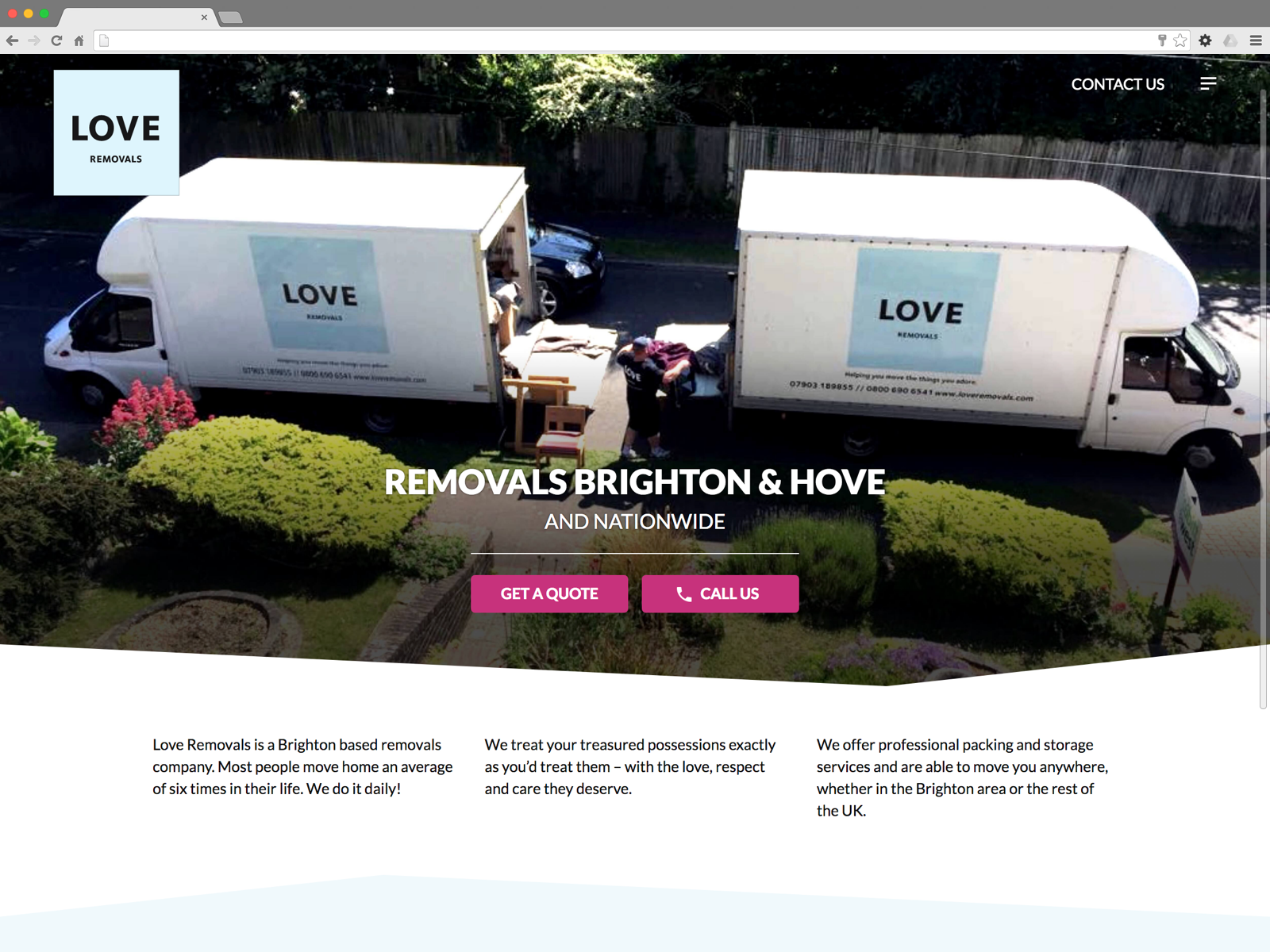 Love Removals website (Website on desktop)