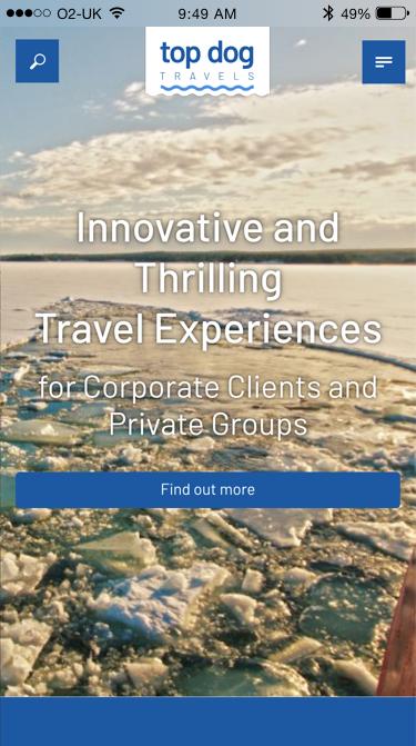 Top Dog Travels website (Website on mobile)
