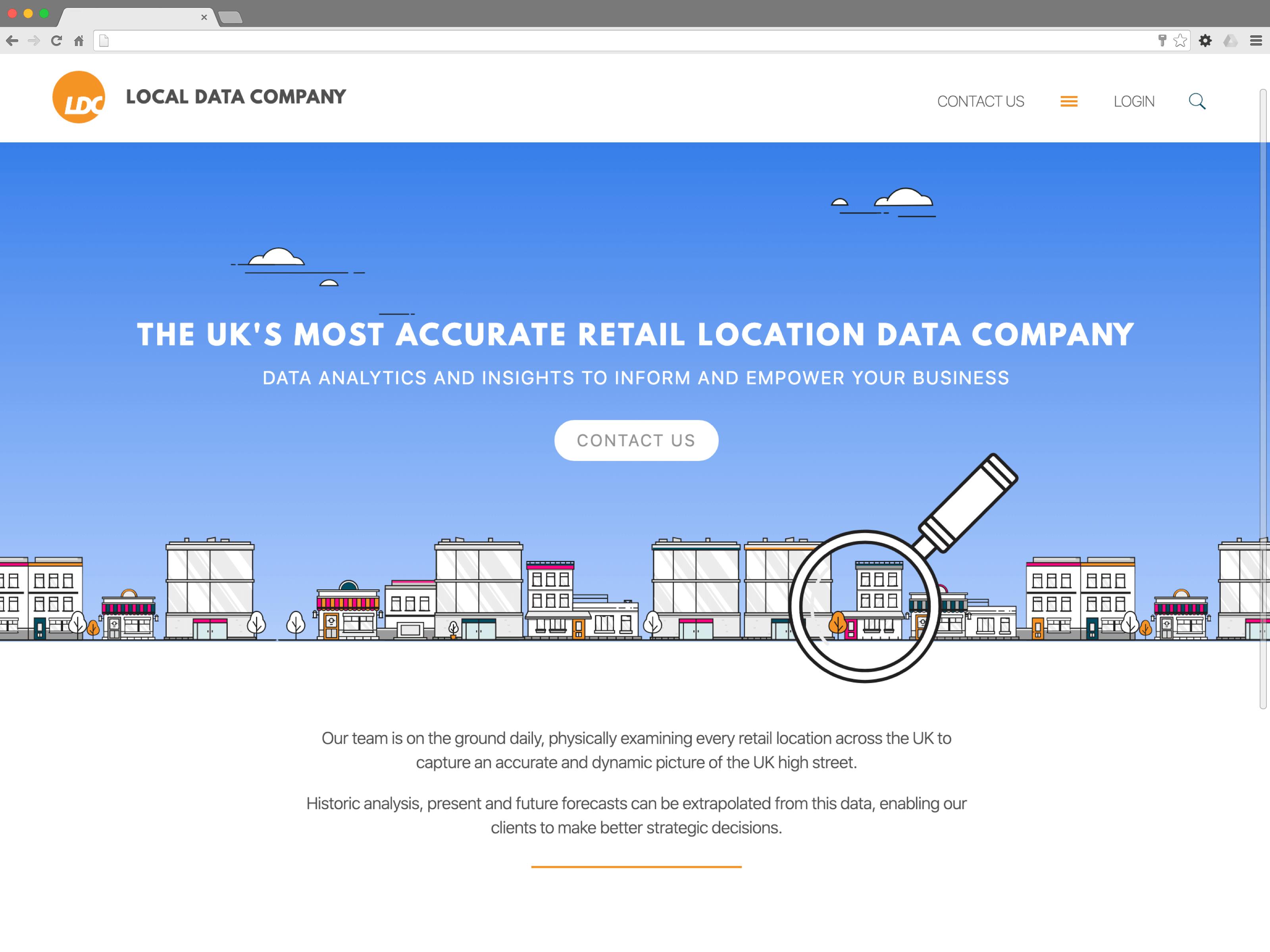 Local Data Company website (Website on desktop)