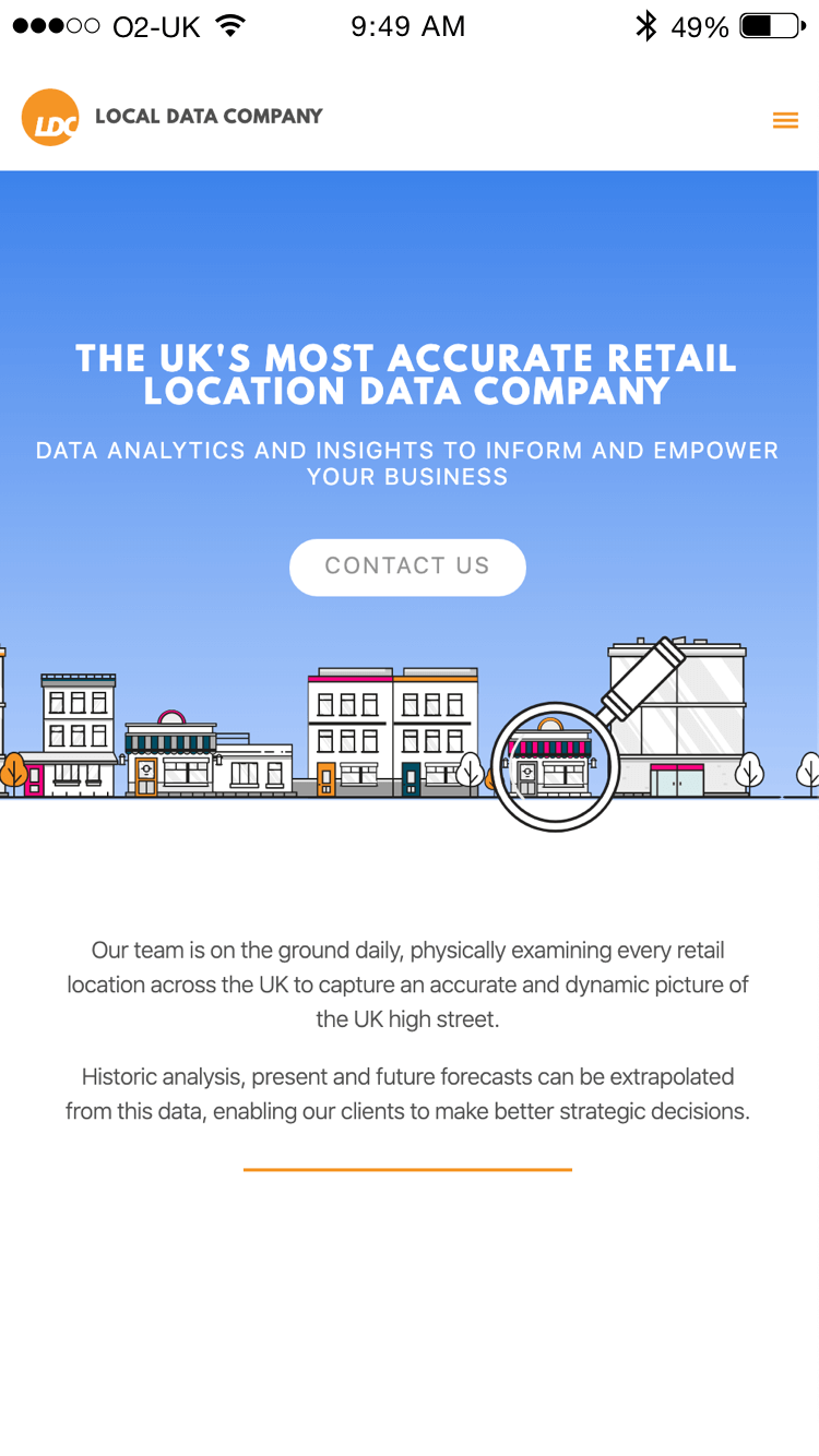 Local Data Company website (Website on mobile)