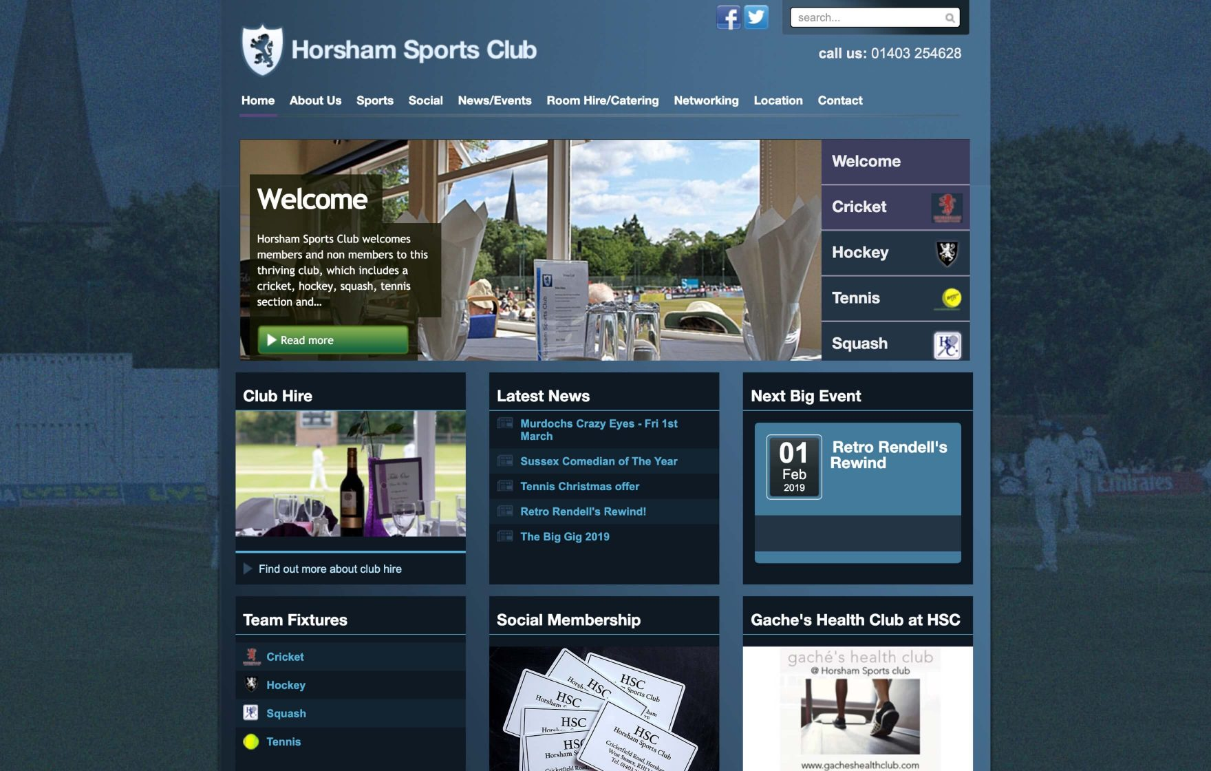 The old Horsham Sports Club website © Jeremy Hickman