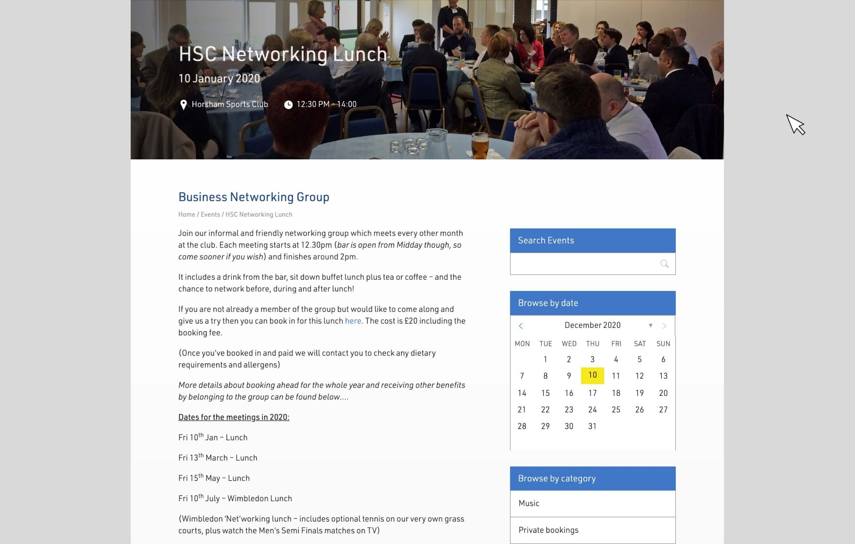Horsham Sports Club website © Jeremy Hickman