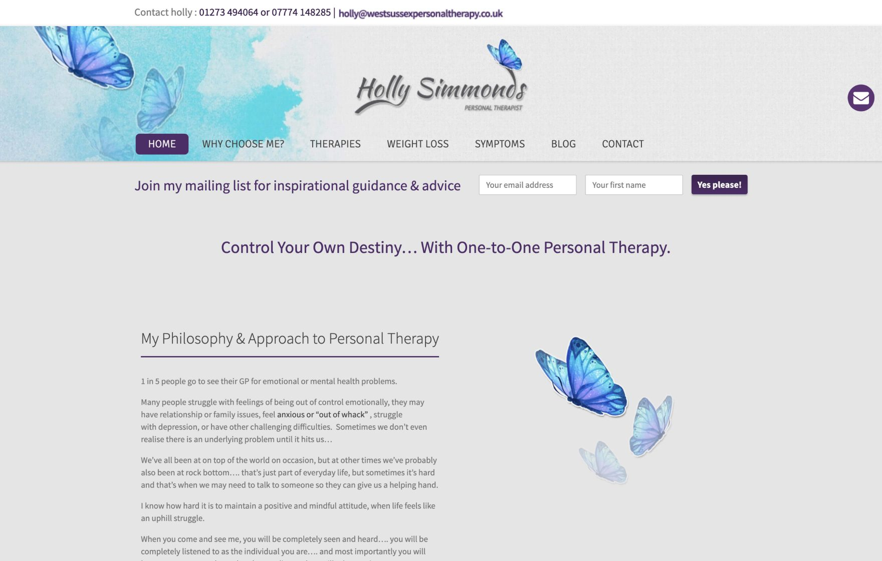 West Sussex Personal Therapy website © Jeremy Hickman