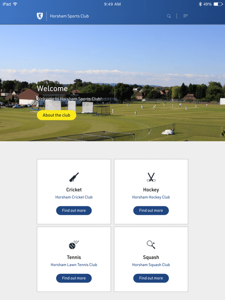 Horsham Sports Club website (Website on tablet)