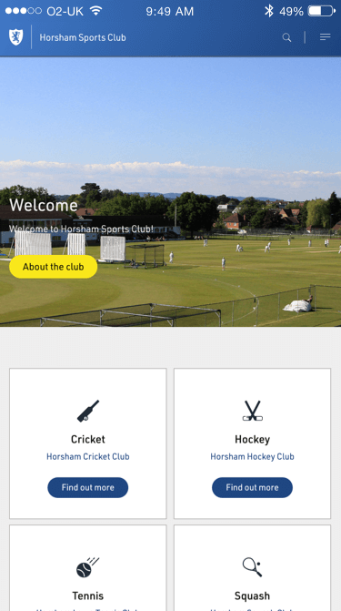 Horsham Sports Club website (Website on mobile)