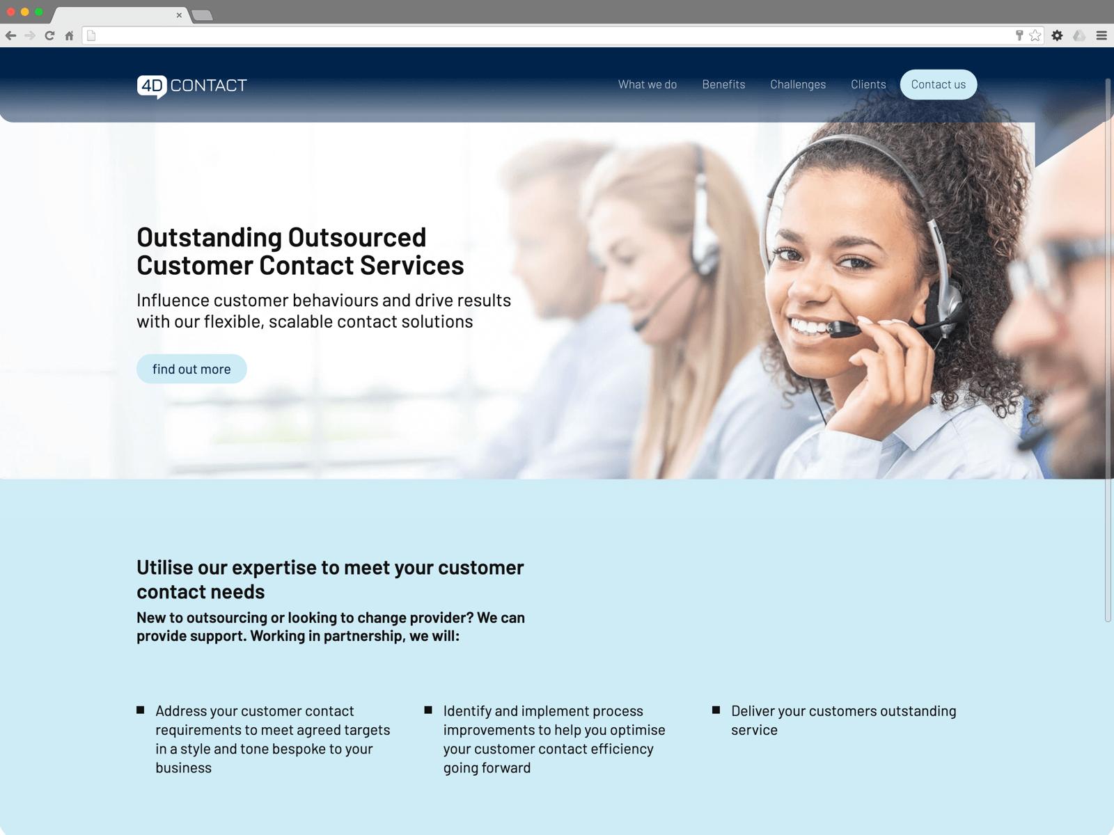 4D Contact website (Website on desktop)