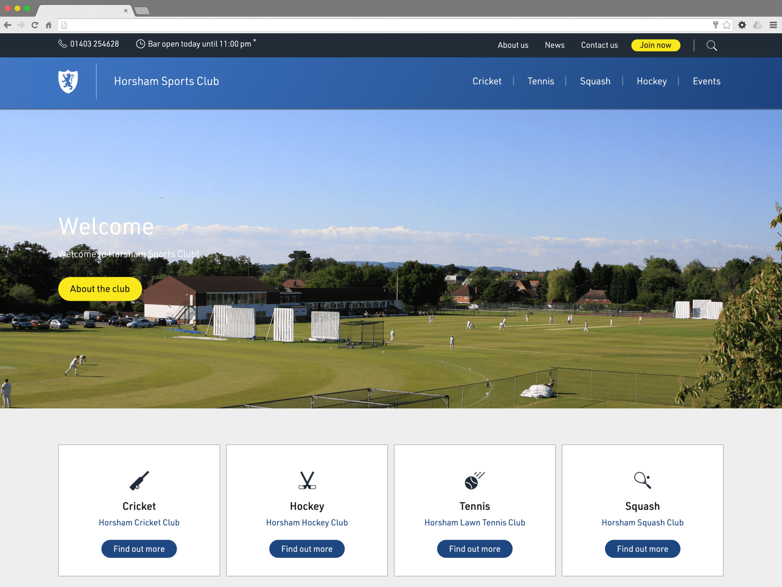 Horsham Sports Club website (Website on desktop)